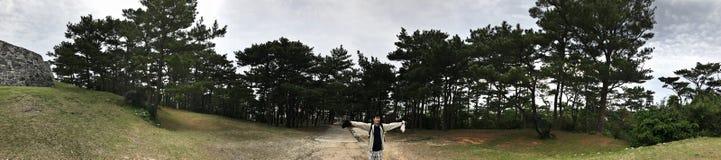 Umgebende Ansicht von Zakimi-Schloss-Ruinen in Japan stockbilder