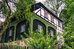 Umgebindehaus en Bohemia foto de archivo