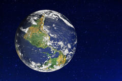 Umgedrehte Erdsternenklares Universum Stockbild