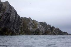umgedrehte Schichten, geologische Abweichung, Novaya Zemlya Stockfotografie