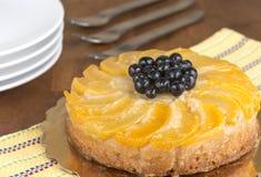 Umgedrehter Kuchen des Pfirsiches Stockfotografie