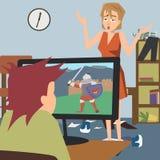 Umgekippte Mutter und das Kind, die Computerspiel spielt, vector Karikatur vektor abbildung