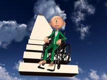Umgekippter Mann im Rollstuhl Stockfoto