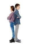 Umgekippter Teenager zurück zu Rückseite Stockfotos