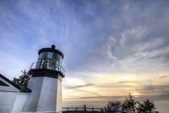 Umhang Meares Leuchtturm am Sonnenuntergang Lizenzfreie Stockfotos