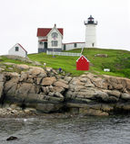 Umhang Neddick Leuchtturm, Maine Lizenzfreies Stockfoto