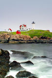 Umhang Neddick Leuchtturm, Maine lizenzfreie stockbilder