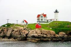 Umhang Neddick Leuchtturm, Maine Stockbilder