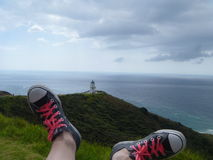Umhang Reinga Leuchtturm, Neuseeland Stockfotografie