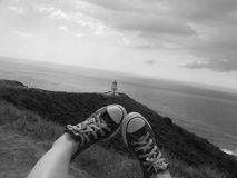 Umhang Reinga Leuchtturm, Neuseeland Lizenzfreie Stockfotos