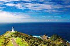 Umhang Reinga Leuchtturm, Neuseeland Stockbild