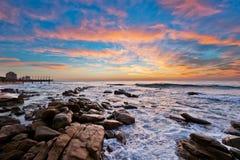Umhlanga日出,南非 免版税图库摄影