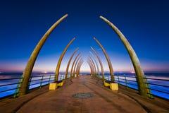 Umhlanga码头日出,南非 免版税库存图片