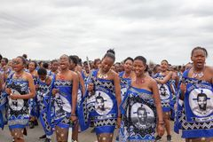 Umhlanga Reed Dance ceremony, annual traditional national rite, one of eight days celebration, young virgin girls with big knives stock image