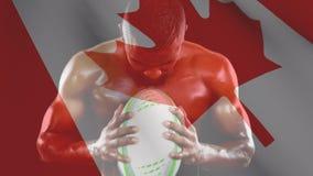 Umięśniony mężczyzna trzyma piłkę i krzyczy z kanadyjczyk flagą