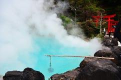 Umi Jigoku o sorgente di acqua calda blu a Beppu Immagini Stock