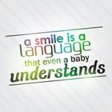 Uśmiech jest językiem który wyrównywał dziecka rozumie Zdjęcia Royalty Free