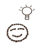 Uśmiech kształtne kawowe fasole Obrazy Royalty Free