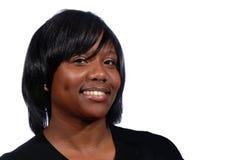uśmiechnięta Amerykanin afrykańskiego pochodzenia kobieta Fotografia Stock