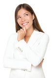 uśmiechnięta myśląca kobieta Obrazy Stock
