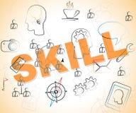 Umiejętności słowo Reprezentuje Wykwalifikowanych słowa I zdolność Zdjęcia Stock