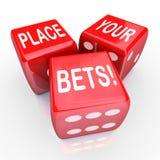 Umieszcza Twój zakładów kostka do gry Uprawia hazard Przyszłościowego sposobność domysł Zdjęcia Stock