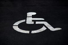 Umieszcza wózek inwalidzki obezwładniającego parking Obrazy Royalty Free
