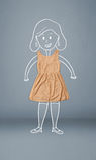 Umieszczający odziewa w akci z kobieta rysunkiem Zdjęcia Stock