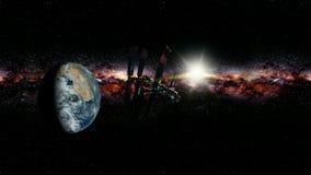 Umkreisende Erde der internationalen Weltraumstation stock video footage