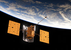 Umkreisende Satellitenerde Lizenzfreies Stockfoto