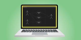 Uml unificou a modelagem do diagrama do caso do uso da língua ilustração stock