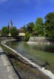 Umleitungskanal in einem Stadtpark Konstanz stockfoto