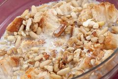 Umm Ali, Egyptian sweet pastry dessert, Bread pudding,. Umm Ali royalty free stock photo