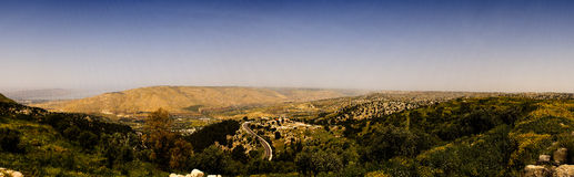 Umm Qais (Gadara). Jordan. Panoramic view north from Umm Qais with Sea of Galilee and Golan Heights visible stock photo