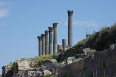 Umm Qais Temple Columns Royalty-vrije Stock Fotografie