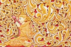 Ummauern Sie Außendetail des alten birmanischen buddhistischen Tempels in Georgetown Stockbild