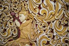 Ummauern Sie Dekoration auf einem buddhistischen Tempel, Georgetown, Penang, Malaysia Stockbild