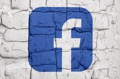 Ummauern Sie mit drawed populären Social Media-Ikonen Lizenzfreie Stockfotografie
