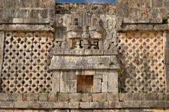 Ummauern Sie Symbol des Gottes von Wasser chak in Uxmal, Mexiko Stockfoto