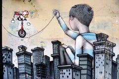 Ummauern Sie Wandmalerei durch berühmten französischen Straßenkünstler Seth Globepainter in Paris lizenzfreie stockfotografie
