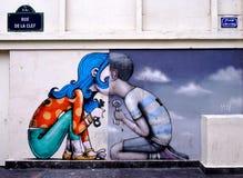 Ummauern Sie Wandmalerei durch berühmten französischen Straßenkünstler Seth Globepainter in Paris stockfotos