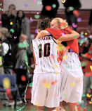UMMC gegen TEO. Frauenbasketball Euroleague 2009-2010 Lizenzfreies Stockfoto