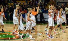 UMMC sta celebrando una vittoria sopra Galatasaray. Fotografia Stock Libera da Diritti