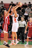 UMMC versus TEO. Het basketbal Euroleague 2009-2010 van vrouwen Royalty-vrije Stock Foto's