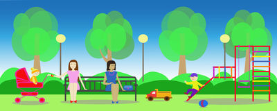 Ummer park and mothers with children on playground. Image of summer park and mothers with children on playground Royalty Free Stock Images