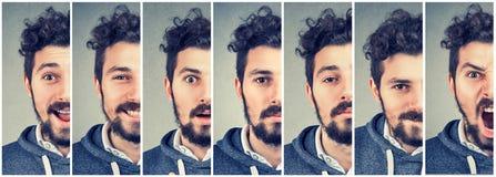 Umore cambiante dell'uomo che esprime le emozioni differenti fotografia stock