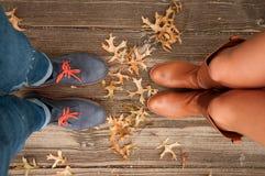 Umore di autunno, piedi di scena di autunno e foglie di caduta immagini stock