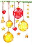 Umore di festa, palle di hristmas del  di Ñ in oro e colore rosso Fotografia Stock Libera da Diritti