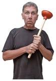 Umore domestico della perdita della Camera di difficoltà dell'idraulico di riparazione del tuttofare Fotografia Stock Libera da Diritti