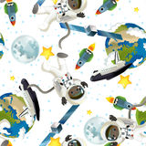 Umore felice e divertente del viaggio dello spazio - - illustrazione per i bambini Fotografie Stock
